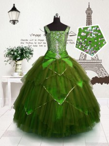 Straps Sleeveless Kids Pageant Dress Floor Length Beading and Belt Olive Green Tulle