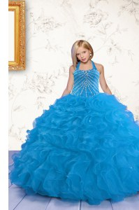 Halter Top Aqua Blue Mermaid Beading and Ruffles Little Girls Pageant Dress Lace Up Organza Sleeveless Floor Length