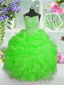 Apple Green Lace Up Straps Beading and Ruffles and Pick Ups Kids Formal Wear Organza Sleeveless