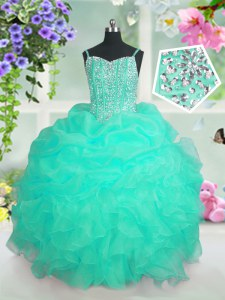 Turquoise Lace Up Spaghetti Straps Beading and Ruffles and Pick Ups Little Girl Pageant Dress Organza Sleeveless