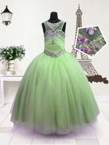 Scoop Beading Little Girls Pageant Dress Green Zipper Sleeveless Floor Length