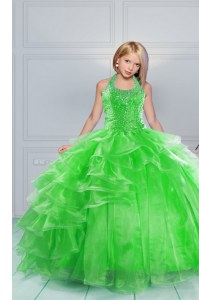 Hot Sale Green Organza Lace Up Halter Top Sleeveless Floor Length Pageant Gowns Beading and Ruffles