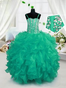 Floor Length Lace Up Little Girls Pageant Dress Wholesale Turquoise for Party and Wedding Party with Beading and Ruffles