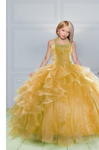 Floor Length Orange Pageant Gowns For Girls Halter Top Sleeveless Lace Up