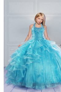 Aqua Blue Ball Gowns Organza Halter Top Sleeveless Beading and Ruffles Floor Length Lace Up Pageant Dress