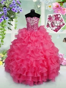 Hot Pink Ball Gowns Sweetheart Sleeveless Organza Floor Length Lace Up Ruffled Layers and Sequins Little Girls Pageant Gowns