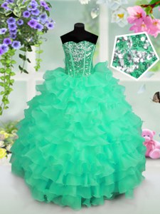 Customized Turquoise Ball Gowns Ruffled Layers and Sequins Child Pageant Dress Lace Up Organza Sleeveless Floor Length