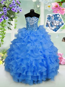 Light Blue Organza Lace Up Girls Pageant Dresses Sleeveless Floor Length Ruffled Layers and Sequins