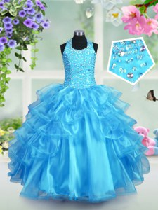 Latest Halter Top Floor Length Aqua Blue Pageant Dress Womens Organza Sleeveless Beading and Ruffled Layers