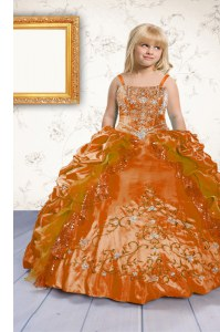 Excellent Floor Length Lace Up Kids Formal Wear Orange for Party and Wedding Party with Beading and Appliques and Pick Ups