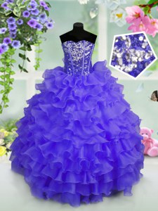 Blue Sweetheart Neckline Ruffled Layers and Sequins Pageant Dress Wholesale Sleeveless Lace Up