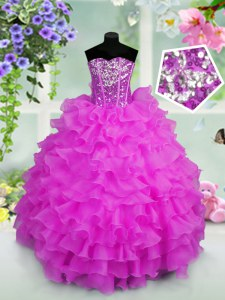 Sequins Ruffled Ball Gowns Little Girls Pageant Gowns Lilac Sweetheart Organza Sleeveless Floor Length Lace Up