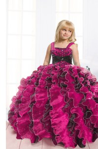 Fancy Black and Hot Pink Organza Lace Up Kids Pageant Dress Sleeveless Floor Length Beading and Ruffles
