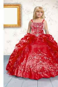 Spaghetti Straps Sleeveless Little Girls Pageant Gowns Floor Length Beading and Appliques and Pick Ups Red Satin