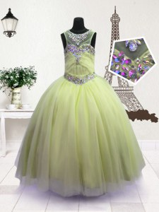 Apple Green Ball Gowns Organza Scoop Sleeveless Beading Floor Length Zipper Little Girls Pageant Gowns