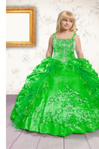 Best Spaghetti Straps Neckline Beading and Appliques and Pick Ups Little Girl Pageant Dress Sleeveless Lace Up