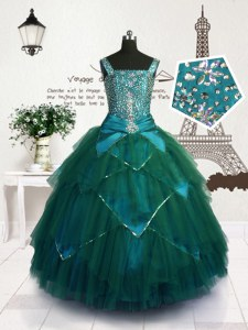 Teal Ball Gowns Straps Sleeveless Tulle Floor Length Lace Up Beading and Belt Girls Pageant Dresses
