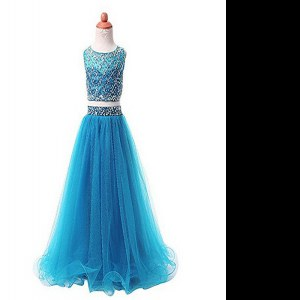 Lovely Scoop Sleeveless Floor Length Beading Zipper Winning Pageant Gowns with Aqua Blue