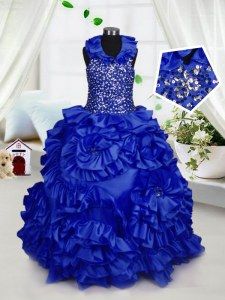 Ball Gowns Pageant Gowns For Girls Royal Blue Halter Top Taffeta Sleeveless Floor Length Zipper