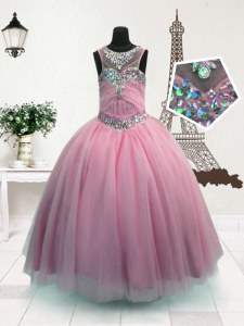 Scoop Floor Length Zipper Child Pageant Dress Pink for Party and Wedding Party with Beading