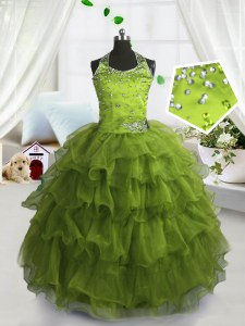 Ruffled Floor Length Olive Green Glitz Pageant Dress Scoop Sleeveless Lace Up