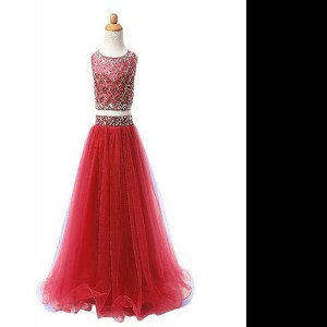 Red Two Pieces Organza Scoop Sleeveless Beading Floor Length Zipper Pageant Dress for Teens