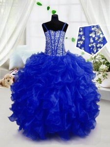 Royal Blue Spaghetti Straps Neckline Beading and Ruffles Pageant Gowns For Girls Sleeveless Lace Up