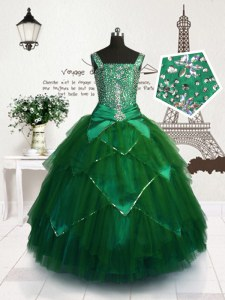 Tulle Sleeveless Floor Length Pageant Dress for Womens and Beading and Belt