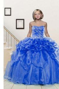 Pick Ups Floor Length Ball Gowns Sleeveless Blue Pageant Gowns For Girls Lace Up