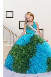 Ball Gowns Glitz Pageant Dress Baby Blue and Green Halter Top Fabric With Rolling Flowers Sleeveless Floor Length Lace Up