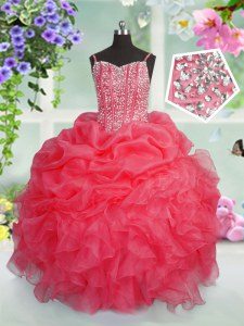 Simple Spaghetti Straps Sleeveless Organza Pageant Dresses Beading and Ruffles and Pick Ups Lace Up