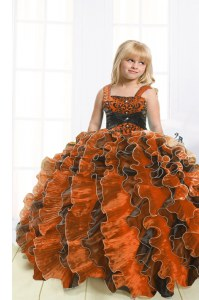 High End Orange Sleeveless Floor Length Beading and Ruffles Lace Up Little Girls Pageant Dress Wholesale