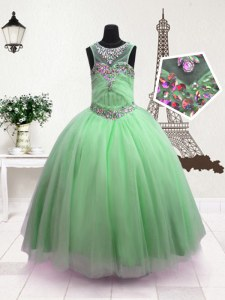 Classical Scoop Apple Green Ball Gowns Beading Little Girl Pageant Dress Zipper Organza Sleeveless Floor Length