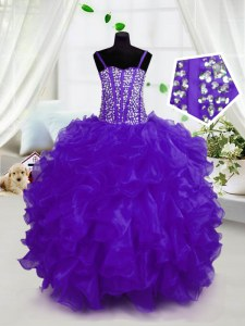 Floor Length Lace Up Kids Formal Wear Purple for Party and Wedding Party with Beading and Ruffles