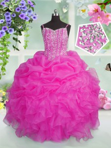 Hot Selling Organza Spaghetti Straps Sleeveless Lace Up Beading and Ruffles and Pick Ups Little Girl Pageant Dress in Baby Pink