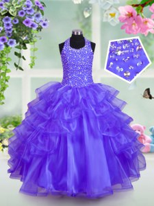 Halter Top Sleeveless Organza Lace Up Little Girls Pageant Gowns in Blue with Beading and Ruffled Layers