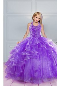 Floor Length Lavender Little Girls Pageant Dress Halter Top Sleeveless Lace Up