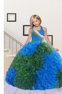 Halter Top Sleeveless Lace Up Kids Formal Wear Blue and Dark Green Fabric With Rolling Flowers
