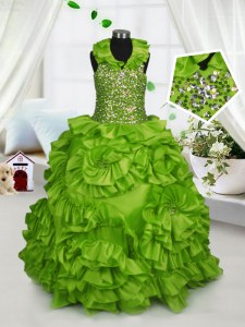 Halter Top Olive Green Ball Gowns Beading and Ruffles Winning Pageant Gowns Zipper Taffeta Sleeveless Floor Length