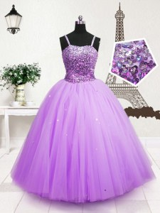 Lavender Ball Gowns Tulle Spaghetti Straps Sleeveless Beading and Sequins Floor Length Zipper Kids Pageant Dress
