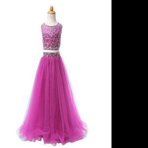 Eye-catching Scoop Fuchsia Organza Zipper Kids Pageant Dress Sleeveless Floor Length Beading