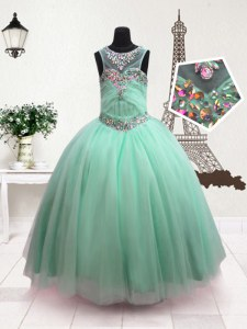 Scoop Turquoise Ball Gowns Beading Little Girls Pageant Gowns Zipper Organza Sleeveless Floor Length