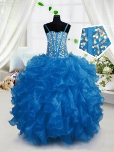Dramatic Ball Gowns Little Girls Pageant Dress Wholesale Blue Spaghetti Straps Organza Sleeveless Floor Length Lace Up