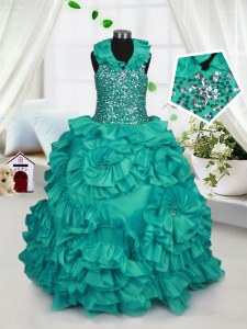 Halter Top Floor Length Ball Gowns Sleeveless Turquoise Pageant Dress for Womens Zipper