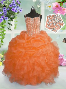 Organza Sleeveless Floor Length Little Girl Pageant Gowns and Beading and Ruffles and Pick Ups
