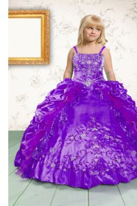 Customized Pick Ups Ball Gowns Little Girls Pageant Gowns Purple Spaghetti Straps Satin Sleeveless Floor Length Lace Up