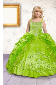 Apple Green Sleeveless Floor Length Beading and Appliques and Pick Ups Lace Up Pageant Dress Toddler