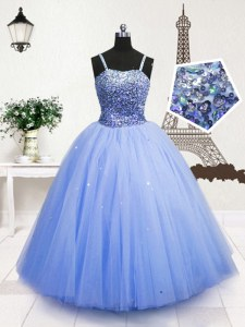 Customized Light Blue Sleeveless Floor Length Beading and Sequins Zipper Girls Pageant Dresses