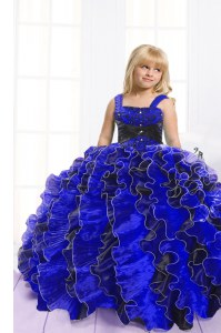 Floor Length Blue And Black Kids Pageant Dress Spaghetti Straps Sleeveless Lace Up