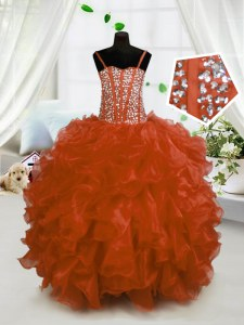 Sleeveless Lace Up Floor Length Beading and Ruffles Pageant Gowns For Girls